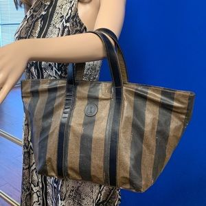 FENDI Pequin Stripe Coated Canvas Tobacco Tote Bag